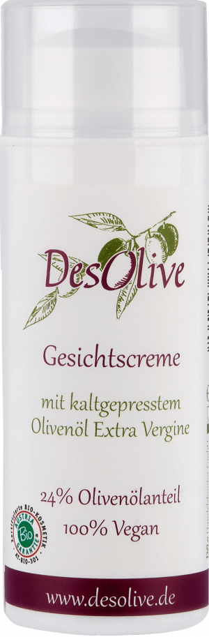 Face cream with cold-pressed organic olive oil